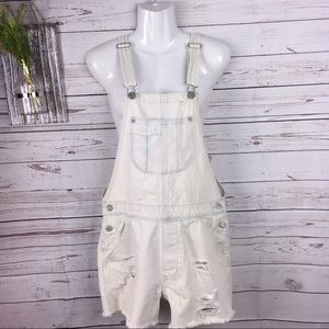 American Eagle outfitter bleached overall short XS